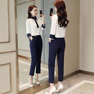 米兰茵 MILANYIN 女装 2019年春季新款韩版时尚休闲潮流修身气质舒适衬衫套装 ML19112 白色 L