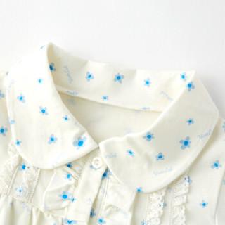 唯路易VIV&LUL女童秋款家居服 长袖圆领棉睡衣套装 本白满印 (075) 130  L116117