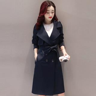 米兰茵(MILANYIN)女装 2019年春季时尚舒适简约个性修身中长款纯色长袖风衣 ML19188 藏青色 XL