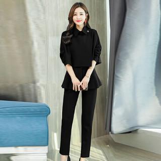 米兰茵(MILANYIN)女装 2019年春季修身百搭口袋纯色潮流简约个性休闲裤套装 ML19195 黑色 2XL