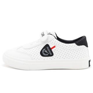 回力(Warrior) 童鞋女童小白鞋魔术贴运动鞋 WZ18-932 白黑 35