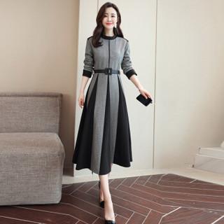米兰茵 MILANYIN 女装 2019年春季圆领中腰常规单件OL风格A字长袖连衣裙 ML19202 灰色 L