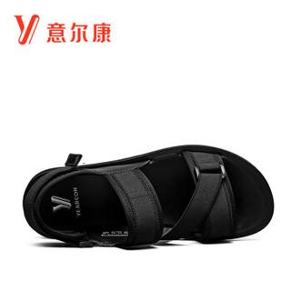 YEARCON 意尔康 男士潮流休闲运动韩版一字拖学生沙滩罗马凉鞋 9342ZS97410W 黑色 42