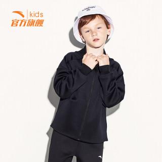 安踏(ANTA)官方旗舰店儿童男童装运动上衣中大童连帽夹克针织外套6~16岁A35917701 梦幻黑 165