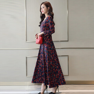 米兰茵(MILANYIN)女装 2019年春季绣花V领时尚袖口潮流气质优雅简约长款连衣裙 ML19171 红色花 XL