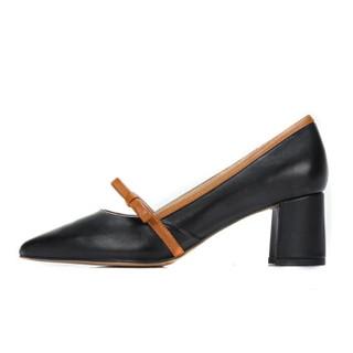 CAMEL 骆驼 女士  优雅高挑蝴蝶结扣带尖头单鞋 A91901627 黑/棕 37
