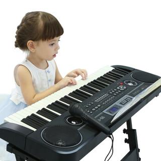 俏娃宝贝 QIAO WA BAO BEI 61键电子琴儿童初学者多功能钢琴键盘弹奏女孩带麦克风3-6-12岁带琴架 王子黑色