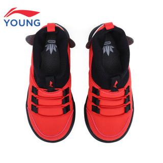李宁官方旗舰店童鞋儿童运动鞋2019新品猪猪鞋一脚蹬袜套鞋 YKAP146-1 李宁红/标准黑 31.5