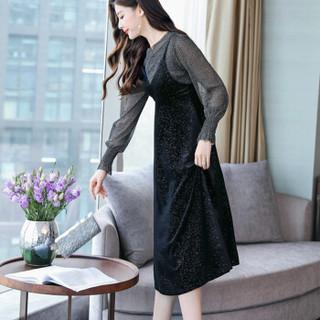 米兰茵 MILANYIN 女装 2019年春季长袖中长款两件套中腰套头时尚潮流连衣裙 ML19100 黑色 M