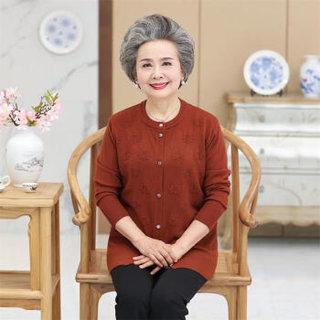 AUDDE 2018秋季新品中老年女装长袖毛衣外套60岁70老年人薄款针织衫开衫上衣女 MMTH2589 驼色 XXL