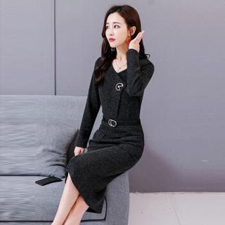米兰茵(MILANYIN)女装 2019年春季百搭V领下摆分叉条纹套头气质时尚连衣裙 ML19053 黑灰色 XL