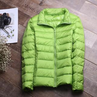 凡淑 2018秋冬新品韩版女装羽绒服短款轻薄运动大码修身显瘦轻便薄款外套 果绿色 S