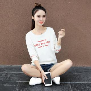 尚格帛 2019春季新品女装卫衣女打底T恤衫宽松休闲印花圆领长袖卫衣 HZCZ4026-9801GB 白色 M