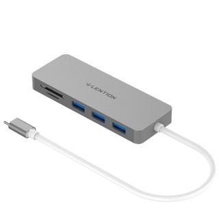 蓝盛(lention) Type-c扩展坞 USB-c转接头 苹果戴尔联想小米华硕电脑适配3个usb+TF/SD3.0读卡器 深空灰