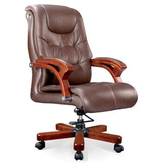 奈高牛皮实木总裁老板椅职员办公椅电脑人体工学转椅棕色FQL-9