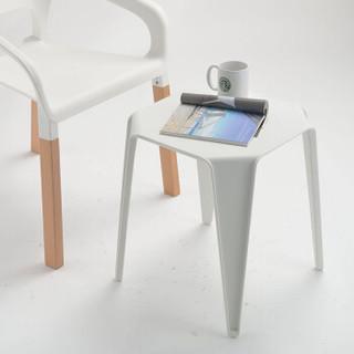 百思宜 北欧简约小茶几客厅边几小户型休闲创意八角凳小椅子茶桌茶几桌小茶桌简易茶几 现代简约 白色