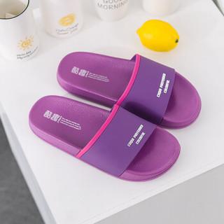 酷趣Coqui 情侣家居浴室轻简软弹防滑洗澡休闲凉拖鞋女款紫色37 CQ6128