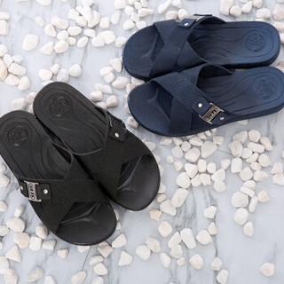 回力拖鞋男凉拖居家百搭户外休闲沙滩透气防水耐磨纯色交叉带 时尚经典款HL3265黑色42码