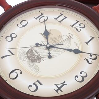 枫叶(MapleLeaf)欧式地中海风船舵式创意客厅静音挂钟挂表 红木色7032-1