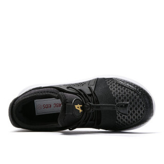 abckids童鞋 春季款男女童运动鞋中小童透气网面跑步轻鞋子DY91330712  纯黑32码