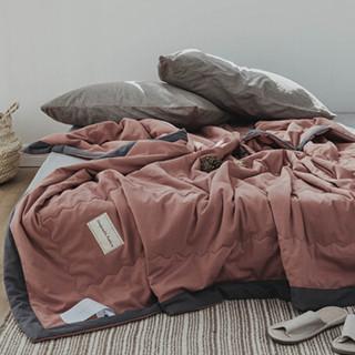 北极绒 被芯家纺 北欧简约风夏凉被 空调被 夏天薄被子 单人盖被 深绯红 150*200cm