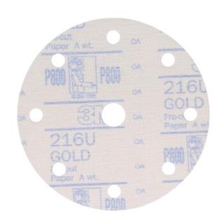 3M砂纸 Gold金锐利干磨砂纸6寸9孔 汽车漆面打磨抛光钣喷研磨背绒砂纸 216U P800 10片装