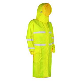 谋福 8019系列 保安巡逻风衣式雨衣交通路政雨衣 荧光黄站岗职业制式雨衣(荧光黄连体风衣款) 3XL-180