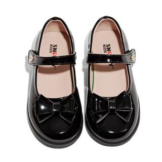 斯纳菲童鞋 2019春新款女童休闲皮鞋纯色真皮学生皮鞋中大童19625黑色31