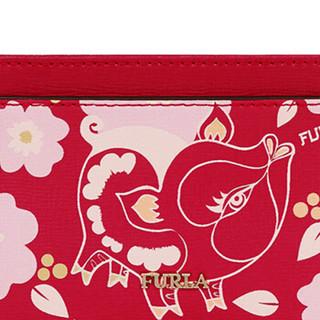 FURLA 芙拉 SS19 CRUISE 女士 牛皮剖层革 红色+混色 BABYLON系列  S号 吉祥猪卡包零钱袋996686 红色+混色