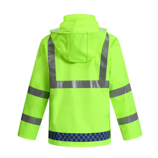 谋福 9297 带帽檐荧光绿格子款分体雨衣套装 交通警示雨衣 行政防雨制服(YGL03  M-165 )