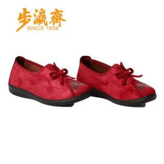 步瀛斋 老北京女中老年人 软底防滑民族风妈妈棉鞋 06590 红色 40