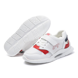 abckids童鞋 春季款男女童运动鞋中童透气轻便休闲儿童鞋子DP91330418 白/红33码