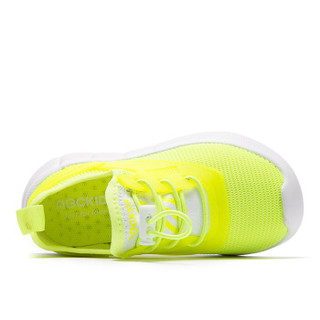 abckids男女童鞋 2019春季新品儿童休闲运动鞋松紧扣网面透气鞋子DP91320414 绿色28码
