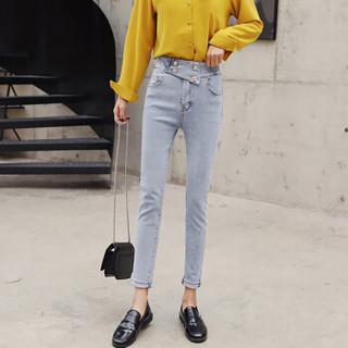 米兰茵 MILANYIN 女装 2019年春季新款高腰弹力显瘦紧身九分小脚牛仔裤 MLYH064 浅蓝色 S