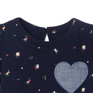 Gap旗舰店 女婴 棉质印花爱心图案短袖连体衣375187 海军蓝色 3-6M