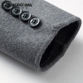 ANGELOYANG  男 男士双面尼羊毛尼大衣2018秋冬新品70%羊毛中长款手工制作男中青年羊毛外套 7338 灰色 190