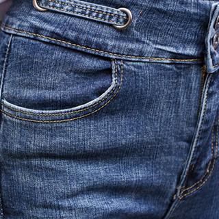 蝶以 2019春季新款高腰牛仔裤女春秋新款修身加绒小脚长裤铅笔裤 KXLNCZG1UJ1833 黑色 M