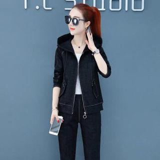 维迩旎 2019春季新款女装新品牛仔裤女韩版气质时尚套装开衫外套两件套 HZ4036-19156 红色 M