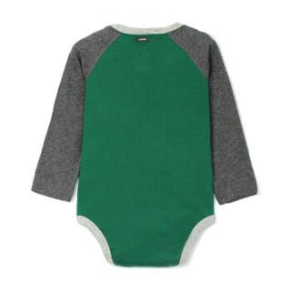 Gap旗舰店 男婴 亨利领长袖连体衣374323 绿色 3-6M