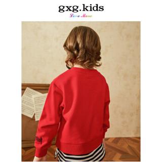 gxg.kids童装新款纯棉嘻哈宽松男童套头卫衣圆领红色上衣 A18131380 红色 120