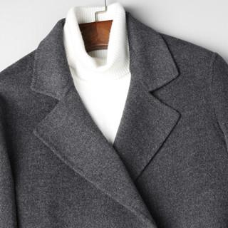 SINBOS毛呢大衣外套2018秋冬季新品男士休闲双面毛呢大衣中长款大衣外套 紫灰 170