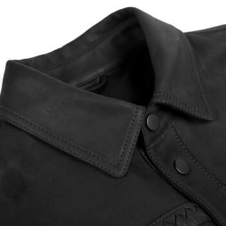 Brloote/巴鲁特男士真皮绵羊皮皮衣 男时尚修身短款夹克外套  黑色 170/92A
