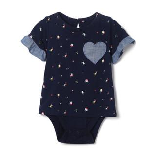 Gap旗舰店 女婴 棉质印花爱心图案短袖连体衣375187 海军蓝色 18-24M