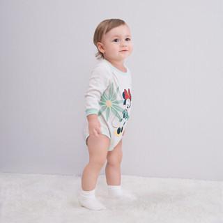 英氏婴儿连体衣 女宝纯棉三角哈 迪士尼系列 181A0337 灰色 73CM