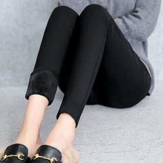 仙丫 2018冬季新品女装打底魔术裤加厚加绒外穿打底裤韩版女士蜜蜂潮大码九分裤 GZ11203 双扣款 L
