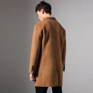 SINBOS毛呢大衣男士新款双面呢修身大衣外套2018秋冬中长款风衣 烟灰色 190/XXXXL