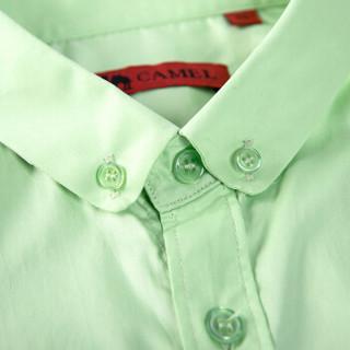 骆驼(CAMEL)男装 纯色扣领尖领长袖商务休闲衬衫 男士衬衣  D5C221427 浅绿42
