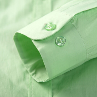 骆驼(CAMEL)男装 纯色扣领尖领长袖商务休闲衬衫 男士衬衣  D5C221427 浅绿39