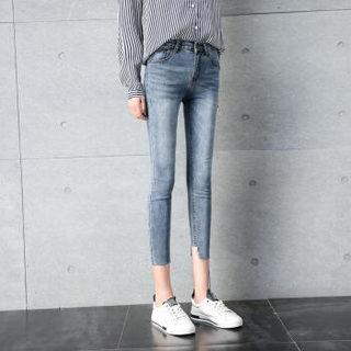 维迩旎 2019春季新款女装新品破洞牛仔裤不规则毛边修身显瘦小脚裤 zx1113-8252 蓝色 破洞 XL