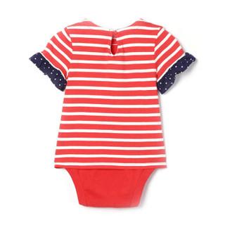 Gap旗舰店 女婴 棉质印花爱心图案短袖连体衣375187 朱红色 6-12M